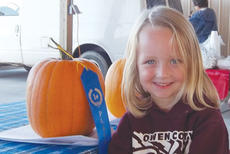"""<div class=""""source"""">Submitted</div><div class=""""image-desc"""">The Owen County Chamber of Commerce and the Owen County Farmer's Market held their first pumpkin contest Oct. 11. Emma Dorton won first place in the class P3 category and Reagan Dorton (pictured) won first place in the class P2 category.</div><div class=""""buy-pic""""><a href=""""/photo_select/10607"""">Buy this photo</a></div>"""