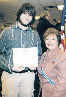"<div class=""source""></div><div class=""image-desc"">Keegan Johnson, left, receives the KSDAR Fifth District DAR Good Citizen Award from Jessieanne Wells, KSDAR state regent.  </div><div class=""buy-pic""><a href=""/photo_select/9424"">Buy this photo</a></div>"