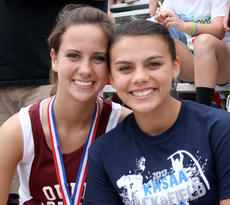 """<div class=""""source""""></div><div class=""""image-desc"""">OCHS senior Hayley DeCandia, left, took seventh place in the high jump and junior Paula Rivera, right, took 11th place in the girls' discus throw. They were the only girls from Owen County who competed at the state meet Saturday. </div><div class=""""buy-pic""""><a href=""""/photo_select/9536"""">Buy this photo</a></div>"""