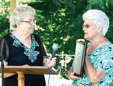 "<div class=""source"">Molly Haines</div><div class=""image-desc"">Owen County Historical Society President Jeannie Williams-Baker, right, presents Joyce Hill Hardin with a dedication plaque that will be hung in the newly constructed pavilion in honor of Hardin's late husband, Scott Hardin. </div><div class=""buy-pic""><a href=""/photo_select/5294"">Buy this photo</a></div>"