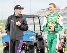 "<div class=""source"">Photo by Will Hearne</div><div class=""image-desc""> Drivers Denny Hamlin, left, and Kasey Kahne, right, share a lighthearted moment. </div><div class=""buy-pic""><a href=""/photo_select/9885"">Buy this photo</a></div>"