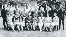 "<div class=""source""></div><div class=""image-desc"">The people in the picture were matched to those in the class pictures in the year book to identify them and are (back row, left to right) unknown; John M. Houchens, Owenton; Woodford Davis, Owenton; T.K. Tandy, Wheatley; V.S. Gentry, Wheatley; unknown; Fred Blakenship, Greenup; Evan Yancey, Owenton; William P. Gentry, Wheatley; unknown; (front row, left to right) Lilyan Cobb, Owenton; Louvenia Tandy, Wheatley; Mariam Davis-Sidebottom, Owenton; James William Thompson, professor of Bible and philosophy; Ruby Dean Ball, Owenton; unknown; Ruby Kindoll, Wheatley; and Anna Marie Webster, Wheatley. </div><div class=""buy-pic""><a href=""/photo_select/4960"">Buy this photo</a></div>"