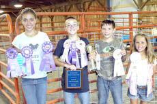 """<div class=""""source""""></div><div class=""""image-desc""""> From right to left: Audrey Lewis received grand champion with her swine, as well as first place in senior showmanship; Brandon Lewis received reserve grand champion and first place in junior showmanship; Cody Anderson received third place with his swine as well as second place in junior showmanship; Ellie Anderson received second place in novice showmanship.  Audrey and Brandon are the children of Eric and Gayla Lewis. Cody and Ellie are the children of Joy Fitzgerald and Chris Anderson. </div><div class=""""buy-pic""""><a href=""""http://web2.lcni5.com/cgi-bin/c2newbuyphoto.cgi?pub=033&orig=Swine-show.jpg"""" target=""""_new"""">Buy this photo</a></div>"""