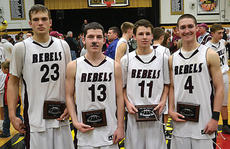 """<div class=""""source""""></div><div class=""""image-desc"""">Four members of the Rebels' basketball team were named to the all-tournament team. Pictured are (from left to right) are Carson Williams, Hunter Trenary, Vince Toftness, and Jarrod Ball, </div><div class=""""buy-pic""""><a href=""""/photo_select/11302"""">Buy this photo</a></div>"""