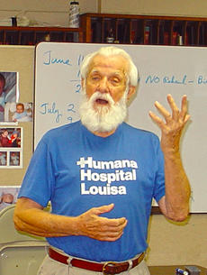 "<div class=""source"">Ernie Stamper</div><div class=""image-desc"">George Hendricks singing at choir practice about 2006 at age 90.</div><div class=""buy-pic""></div>"