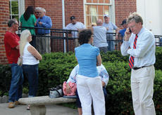 "<div class=""source""></div><div class=""image-desc"">Todd Spurgen, right, and Owen County sheriff candidate Kristopher Lang, left, were among the dozens of people who waited outside the Owen County Courthouse for the primary election returns.</div><div class=""buy-pic""><a href=""/photo_select/11795"">Buy this photo</a></div>"