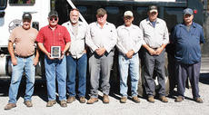 "<div class=""source"">Molly Haines </div><div class=""image-desc"">The Owen County Road Department recently received an award for its work on a bridge over Two Mile Creek. Pictured are (from left to right) Jimmy Wainscott, Owen County Road Foreman Greg Smoot, Randy Fitzgerald, Allen Bell, Tony Robertson, Wayne Harris and Curtis Patton. Not pictured: Charlie Simmons and Bert Wooten.</div><div class=""buy-pic""><a href=""/photo_select/10601"">Buy this photo</a></div>"