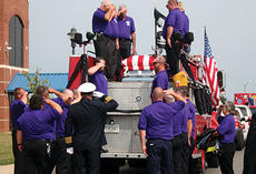 """<div class=""""source"""">Molly Haines</div><div class=""""image-desc"""">Members of the Monterey Volunteer Fire Department salute fellow firefighter Terry Sharon following a ceremony at Owen County High School Saturday. Ten days ago, Sharon died of an apparent heart attack when returning to the station from a run. Firefighters</div><div class=""""buy-pic""""><a href=""""/photo_select/691"""">Buy this photo</a></div>"""