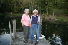 """<div class=""""source""""></div><div class=""""image-desc"""">Eula Smoot Stephenson, left, and her mother Lucy Smoot Hall, right, carry on a family tradition and drop a line in a pond. Smoot Hall will be honored with a 102nd birthday celebration Saturday at 6:30 p.m. at the Owen County Extension Service.</div><div class=""""buy-pic""""><a href=""""/photo_select/12104"""">Buy this photo</a></div>"""