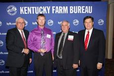"<div class=""source""></div><div class=""image-desc"">John Russell New, young farmer chair for Owen County Farm Bureau (center left), accepts the Gold Star Award of Excellence from Mark Haney, Kentucky Farm Bureau president (left). Also pictured are David Chappell, president of Owen County Farm Bureau (center right), and David S. Beck, Kentucky Farm Bureau executive vice president (right). The award was presented during a Dec. 7 recognition program at the 93rd Kentucky Farm Bureau annual meeting. </div><div class=""buy-pic""><a href=""/photo_select/8632"">Buy this photo</a></div>"