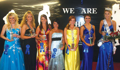 The winners of the Miss Owen County 2010 Fair pageant from left to right: Miss Photogenic, Brittany McDonald; Miss Congeniality, Katie Jo Rohling; fourth runner-up, Ashley True; third runner-up, Jessica Knott; second runner-up, Kristen Haines; first runner-up, Danielle Hoop and Miss Owen County Fair 2010, Katie Haines.