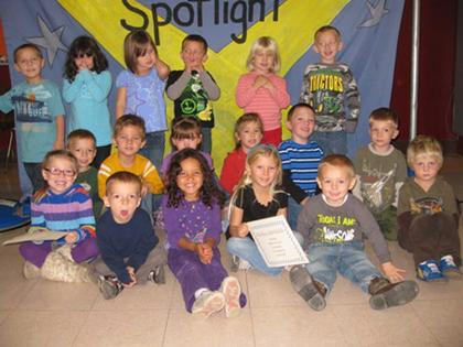 Preschool Perfect Attendance Award winners