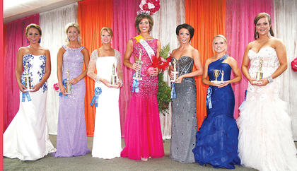 The winners of the 2013 Miss Owen County 4-H Fair & Horse Show are (from left to right) first runner up Dakoda Trenary; second runner-up Kelley Berry of Henry County; third runner-up Veronica Chisholm; Miss Owen County 4-H Fair & Horse Show Courtney Waldrop; fourth runner-up Brittany Clark; Miss Congeniality Ashley Smith and People's Choice Danielle Kemper.