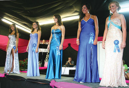 This year's contestants included (above) Tyera Lancaster, Jenna Harris, Stephanie Sons, Molly Borchers and Kayla Maddox