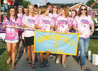 Members of the Owen County High School National Honor Society take part in the Relay for Life.