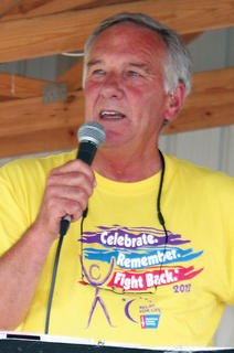Owen County Relay for Life Chairman Gilbert England speaks to the crowd.