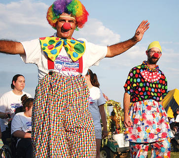 Bro. Dale Atkins shows off his clown suit.