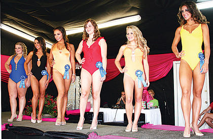 Above: Christina Ueltschi, Brittany Clark, Christina Johnson, Krista Manning, Ashley Smith and Danielle Hoop take part in the swimsuit competition.