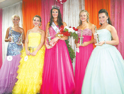 Pictured are all of this year's Miss Teen winners (from left to right): People's Choice and third runner-up Katelyn Herald, Miss Congeniality Alexis Copeland, 2013 Miss Teen Owen County 4-H Fair and Horse Show Molly Gamble, second runner-up Kaylee Miller and first runner-up Emerald Garnett