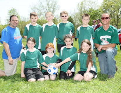 Back row (left to right): Coach Eric VonHellens, Mitchell Culbertson, Kameren Wilson, Noah Cammack, Ben Lilly, Coach John Wilson; Front row (left to right): Kaelee VonHellens, Victoria New, Cheyenne Coppola, Grace Hedricks