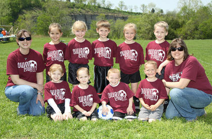 Back row (left to right): Coach Nikki Baumann, Ellie Anderson, Ellie Blair, Avery Miller, Payton Gordon, Ford Cull, Coach Beth Gordon; Front row (left to right): Lilly Baumann, Andie Baumann, Blaine Spencer, Ben Chilton
