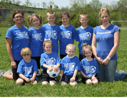 Back row (left to right): Coach Amanda Caldwell, Kaileigh Grider, Jackson Prather, Haley Logan, Eli Rice, Coach Tina Eades; Front row (left to right): Caanan Eades, Maddie Morgan, James Grider, Avah Caldwell