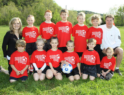Back row (left to right): Coach Shannon Chappell, Tori Lykins, Spencer Blair, Isaac Wash, Jackson Spurgeon, Cory Doss, Coach Todd Spurgeon; Front row (left to right): Conner Eades, Macie Chappell, Alex Perry, Destiny Goodrich, Charlie Bauman, Abigail Arnwine