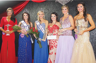 Photo by Molly Haines  The winners of Owen County Fair Pageant included fourth runner-up Lindsey Haynes; Miss Owen County Brittany Clark; Miss Owen County Fair Savannah Stevens; Peoples Choice Chassidy Monroe; third runner-up Jenna Colston; and second runner-up Hayden Grissam.