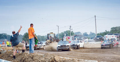 Saturday's demolition derby gets under way with the circle track race.