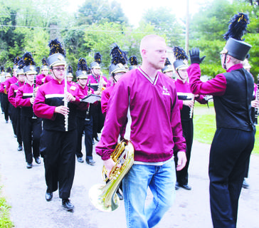The Owen County High School band marches in the parade.