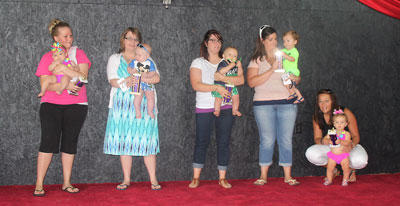 The winners of the 2014 Owen County Fair Baby Pageant for ages 0-11 months were Taylor Jo Collins (best girl); William Elliston (best boy); Bryce Vannarsdall (friendliest); Bryar Nannelley (prettiest eyes); and Josie Ellen Colligan (biggest smile).