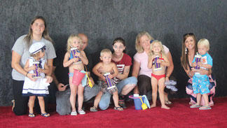 The winners of the 2014 Owen County Fair Baby Pageant for ages 24-36 months were Leigha Baxter (best girl); Ryder Bond (best boy); Gabriella Morgan (friendliest); Sarissa Bowman (prettiest eyes); and Kaiden Bowman (biggest smile).