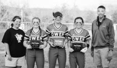 """<div class=""""source""""></div><div class=""""image-desc"""">Owen County Lady Rebels Softball Coach Michelle Baker, pitcher Kaitlyn Parker, center field Morgan Ellis, Baileigh Young and coach Nathan Gambrell following play in the All 'A' Tournament.</div><div class=""""buy-pic""""><a href=""""/photo_select/16380"""">Buy this photo</a></div>"""