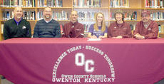 "<div class=""source""></div><div class=""image-desc"">Julie Spaulding, center, daughter of Terry and Kathy Spaulding, signed a letter of intent to play golf at Asbury University this fall. Also pictured from left to right are Mark Perdue, Asbury athlete director; Duane Kline, OCHS principal; Terry Spaulding; Julie Spaulding; Kathy Spaulding; and David Wainscott, OCHS girls golf coach.  </div><div class=""buy-pic""><a href=""/photo_select/9157"">Buy this photo</a></div>"