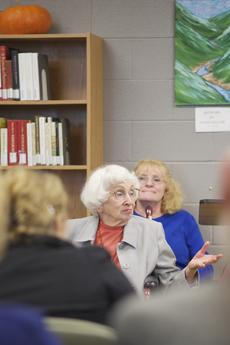 "<div class=""source"">Ernie Stamper</div><div class=""image-desc"">Anne Caudill, center, speaking at the dedication of the Appalachian Literature Collection, Licking Valley Campus/Maysville Community & Technical College, 8 October, 2015 </div><div class=""buy-pic""></div>"