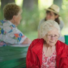 """<div class=""""source"""">Ernie Stamper</div><div class=""""image-desc"""">Aunt Georgia at the Green Reunion. She was the last surviving family member of my father's generation. Her daughter Kaye Ellis, l, & g-neice Anne Pampuch, r, are seen in background. </div><div class=""""buy-pic""""></div>"""