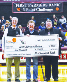 """<div class=""""source"""">Brian Blair   N-H Sports Reporter</div><div class=""""image-desc"""">First Farmers Bank Senior Vice-President Wanda Dunavent presents a check to T.J. Wesselman and Bob Osborne in the amount of $1,000 for First Farmers Bank 3 Point Challenge. The money goes to Owen County Athletics. </div><div class=""""buy-pic""""><a href=""""/photo_select/16066"""">Buy this photo</a></div>"""