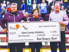 """<div class=""""source"""">Brian Blair   N-H Sports Reporter</div><div class=""""image-desc"""">First Farmers Bank CEO Darryl Traylor, center, presents a check for $1,000 to Devin Duvall and T.J. Wesselman for the First Farmers Bank 3 Point Challenge.</div><div class=""""buy-pic""""><a href=""""/photo_select/16067"""">Buy this photo</a></div>"""