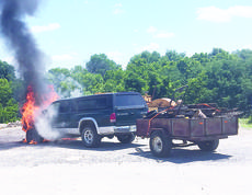 "<div class=""source"">Photo courtesy of Kristy Jury </div><div class=""image-desc"">Pictured is the truck Tony Jury was driving when it began smoking and eventually engulfed in flames.</div><div class=""buy-pic""><a href=""/photo_select/18029"">Buy this photo</a></div>"
