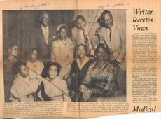 "<div class=""source"">The California Eagle, 21 Nov 1957</div><div class=""image-desc"">This 1957 newspaper photo was found in the scrapbook of the Hudson Reunion (descendants of Silas A. Hudson) kept by Aunt Lilly Hudson Cooke's daughter, Zorelda Juett. The handwriting on the clipping is Leon Harris's. Rose is the child seated third from left. Harris's daughter is seated, second from right. </div><div class=""buy-pic""></div>"