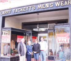 "<div class=""source"">Photo by Molly Haines/N-H Editor</div><div class=""image-desc"">Larry Tackett, Doris Tackett, Deanna Tackett and Tommy Tackett stand in the store front of Larry Tackett's Mens Wear on Seminary Street. Tommy and Deanna Tackett are set to take over the business Jan. 1.</div><div class=""buy-pic""><a href=""/photo_select/17247"">Buy this photo</a></div>"