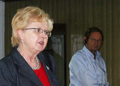 Owen County Judge-executive Carolyn Keith talks to supporters following her primary victory in May.