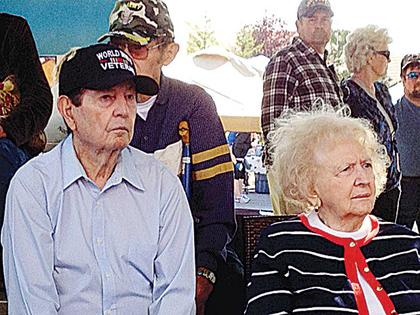 Veterans were honored during the morning festivities of Sweet Owen Day, including World War II veteran Jim Miller, who sat with his wife Aileen Miller.