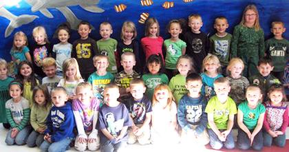 Kindergarten Perfect Attendance Award winners