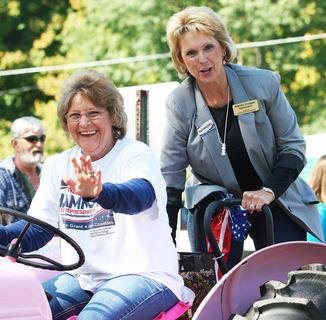 Above left: State Representative candidate Wanda Crupper Hammons took part in the Monterey Homecoming Fair parade.