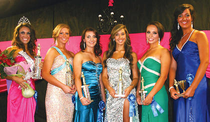 The winners of this year's Miss Owen County Fair were (from left) Danielle Hoop, who was crowned Miss Owen County Fair; first runner-up Kayla Maddox; second runner-up Stephanie Sons;  third runner-up Tyera Lancaster; fourth runner-up Christina Johnson; and Miss Congeniality Molly Borchers.