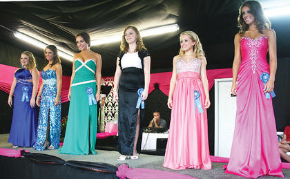 Above: Christina Ueltschi, Brittany Clark, Christina Johnson, Krista Manning, Ashley Smith and Danielle Hoop seek the title of Miss Owen County Fair 2012.