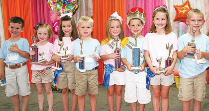 Pictured are all of this year's Little Miss and Mister winners (from left to right): First runners-up Carson Carter and Audrey Roberts; second runners-up Ryann Spaeth and Bryson Tirey; 2013 Owen County 4-H Fair and Horse Show Little Miss and Mister Mason Hedger and Blake Gaines and third runners-up Brie Dunavent and Aiden Menchen.