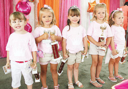 Pictured are all of this year's Little Princess winners (from left to right): Third runner-up Emileigh Grace Stivers, first runner-up Hannah Lee Mason, 2013 Owen County 4-H Fair and Horse Show Little Princess Madelyn Kate Justis, second runner-up Khloe Sue Dempsey and people's choice Gretchen Powers.