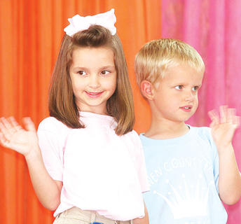 Ryann Spaeth and Bryson Tirey participated in the Little Miss and Mister pageant.